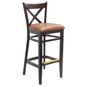 Espresso Wood Cross-back Commercial Bar Stool with Upholstered Seat (Front)