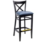 Black Wood Cross-Back Commercial Bar Stool