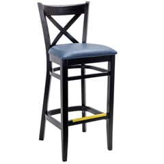Solid Beech Wood Cross Back Commercial Bar Stool in Black