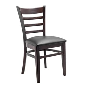 Espresso Wood Ladderback Commercial Chair with Upholstered Seat (Front)