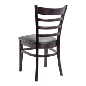 Espresso Wood Ladderback Commercial Chair with Upholstered Seat
