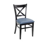 Black Wood Cross-back Commercial Chair with Upholstered Seat (Front)