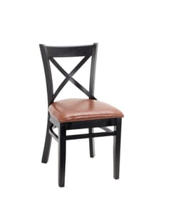 Black Wood Farmhouse Cross-Back Commercial Chair with Upholstered Seat  (Front)