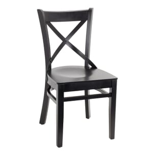 Black Wood Farmhouse Cross-Back Commercial Chair with Solid Wood Seat (Front)