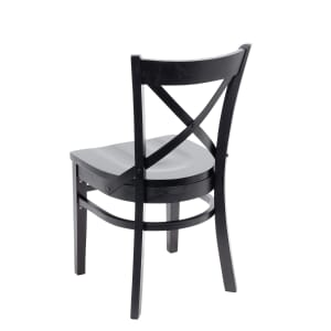 Black Wood Farmhouse Cross-Back Commercial Chair