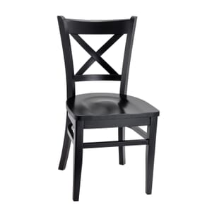 Black Wood Cross-back Commercial Chair with Solid Wood Saddle Seat (Front)