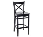 Black Wood Cross-back Commercial Bar Stool with Solid Wood Saddle Seat (Front)