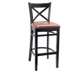 Black Wood Farmhouse Cross-Back Commercial Bar Stool