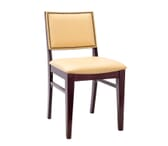 Fully Upholstered Natural Wood Commercial Bar Stool with Nail-head Trim (Front)