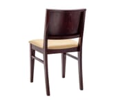 Fully Upholstered Walnut Wood Commercial Bar Stool with Nail-head Trim