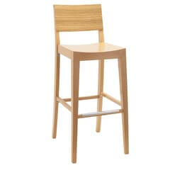 Natural Wood Madison Commercial Bar Stool in Zebra Style Pattern