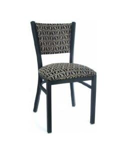 Fully Upholstered Black Steel Ladderback Metal Chair