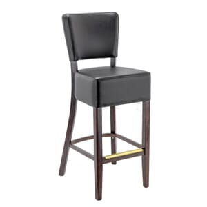 Fully Upholstered Espresso Faux-Leather Commercial Dining Bar Stool (Front)