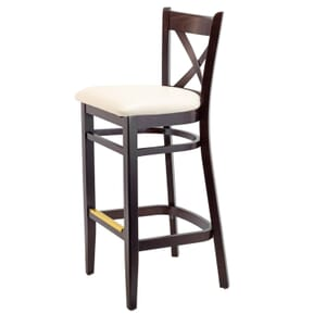 Espresso Wood Cross-back Commercial Bar Stool with Upholstered Seat