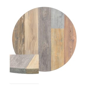 Multicolored High-Density Composite Round Rustic Tabletop (24