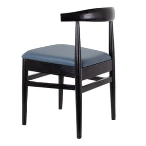 Stackable Black Elm Wood Chair With Upholstered Seat