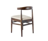 Stackable Antique Walnut Elm Wood Chair With Upholstered Seat