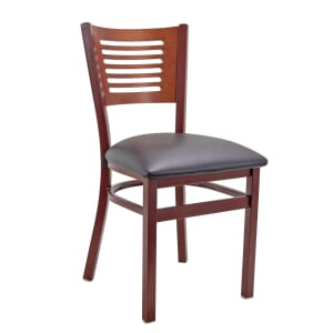 Mahogany Metal Commercial Chair with Slatted Mahogany Back and Veneer Seat (Front)