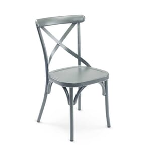 Aluminum Cross-Back Outdoor Commercial Chair in Grey (Front)