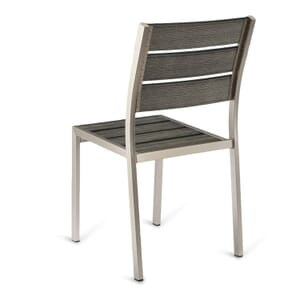 Outdoor Aluminum Chair with Pewter Synthetic Teak Wood Slats