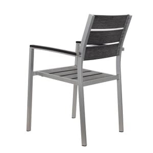 Outdoor Aluminum Arm Chair with Pewter Synthetic Teak Wood Slats