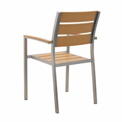 Outdoor Aluminum Arm Chair with Tan Synthetic Teak Wood Slats