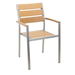 Outdoor Restaurant Chair with Arms - Tan Synthetic Wood Back and Seat and Brushed Aluminum Frame
