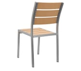 Outdoor Aluminum Chair with Tan Synthetic Teak Wood Slats