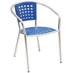 Stackable Aluminum Patio Arm Chair with Blue Polypropylene Seat and Back