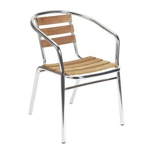 Stackable Aluminum and Teak Patio Arm Chair