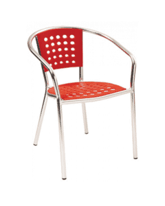 Stackable Aluminum Patio Arm Chair with Red Polypropylene Seat and Back