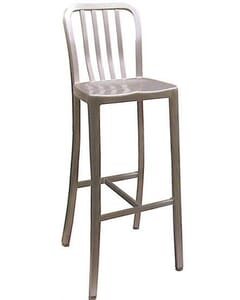 Outdoor Navy-Style Vertical-Back Commercial Barstool