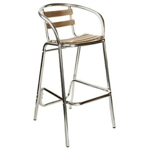 Aluminum and Teak Patio Bar Stool with Arms