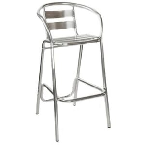 Outdoor Restaurant Bar Stool with Brushed Aluminum Slats