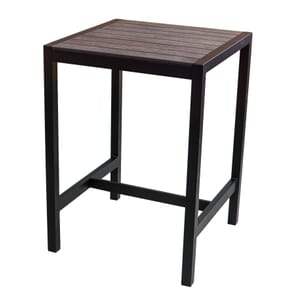 Brushed Brown Synthetic Wood Aluminum Restaurant Bar Height Table (31