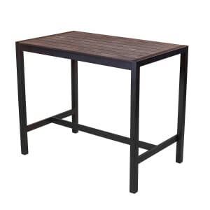 Brushed Brown Synthetic Wood Aluminum Restaurant Table