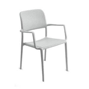 Bistro Stackable Outdoor Chair with Arms in Off White (Front)