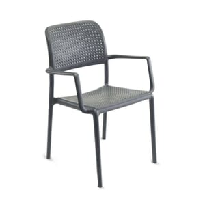 Bistro Stackable Outdoor Chair with Arms in Light Grey(Front)