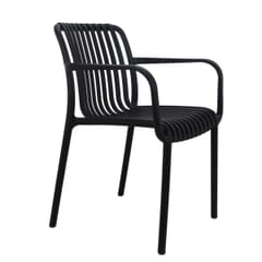 Outdoor Arm Resin Chair with Striped Seat and Back in Black