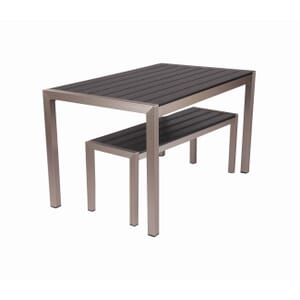 Brushed Pewter Teaks & Aluminum Frame Table & Bench