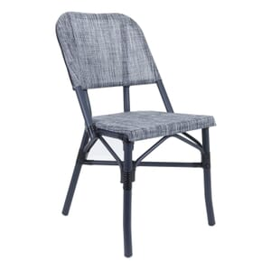 Powder Coated Charcoal Aluminum Frame Textilene Gray Mesh Seat and Back Chair (Front)