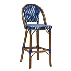 Curved-Back Synthetic Wicker & Bamboo Commercial Outdoor Bar Stool - Blue/White