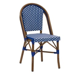 Curved-Back Synthetic Wicker & Bamboo Commercial Outdoor Chair  - Blue/White