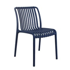 Outdoor Resin Chair with Striped Seat and Back in Blue