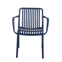 Outdoor Arm Resin Chair with Striped Seat and Back in Blue