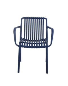 Stackable Outdoor Arm Resin Chair with Striped Seat and Back in Blue