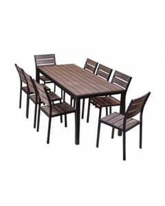 Outdoor Aluminum Restaurant Table with Brushed Brown Synthetic Teak Wood Slats