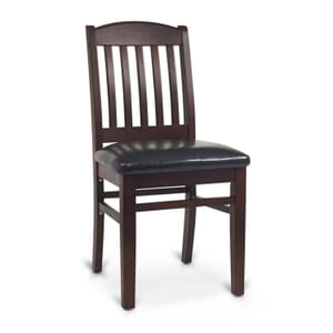 Dark Mahogany Wood Bulldog Commercial Chair with Upholstered Seat