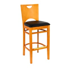 Cherry Wood Commercial Bar Stool with Upholstered Seat