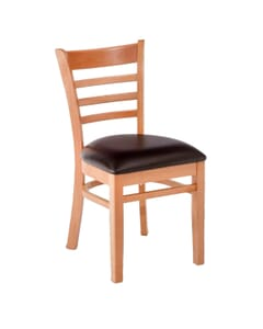 Cherry Wood Ladderback Commercial Chair with Wood Veneer Seat (front)